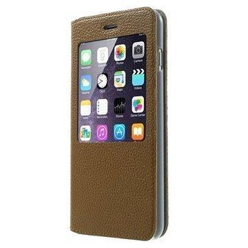 iPhone 6 Plus / 6S Plus Doormoon View Flip Nahkakotelo Ruskea