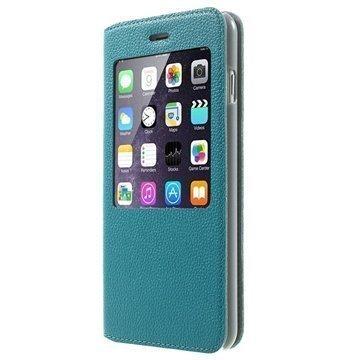 iPhone 6 Plus / 6S Plus Doormoon View Flip Nahkakotelo Sininen