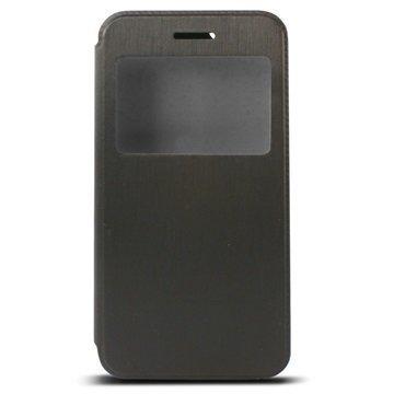 iPhone 6 Plus / 6S Plus Ksix Ikkunallinen Seisontatuki Foliokotelo Musta