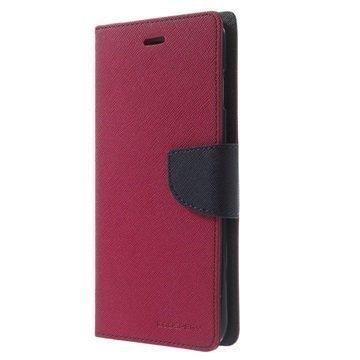 iPhone 6 Plus / 6S Plus Mercury Goospery Fancy Diary Lompakkokotelo Kuuma Pinkki / Musta