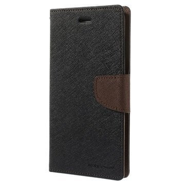 iPhone 6 Plus / 6S Plus Mercury Goospery Fancy Diary Lompakkokotelo Musta / Ruskea