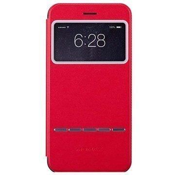 iPhone 6 Plus / 6S Plus Momax View Slide Läpällinen Nahkakotelo Punainen