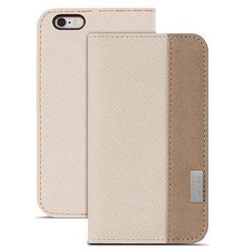iPhone 6 Plus / 6S Plus Moshi Overture Avattava Nahkakotelo Beige