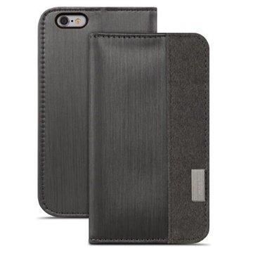 iPhone 6 Plus / 6S Plus Moshi Overture Avattava Nahkakotelo Musta