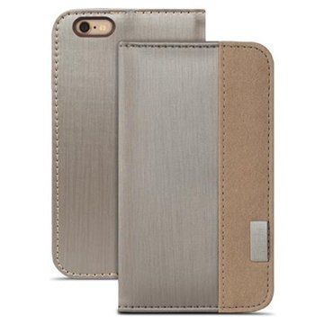 iPhone 6 Plus / 6S Plus Moshi Overture Avattava Nahkakotelo Titaniumi