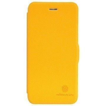 iPhone 6 Plus / 6S Plus Nillkin Fresh Sarjan Nahkainen Läppäkotelo Keltainen