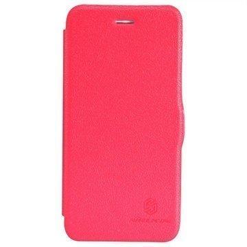iPhone 6 Plus / 6S Plus Nillkin Fresh Sarjan Nahkainen Läppäkotelo Punainen