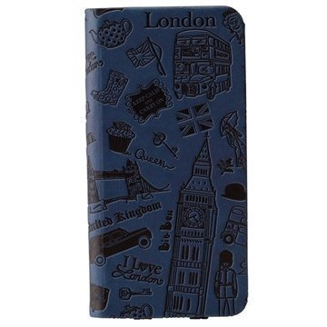 iPhone 6 Plus / 6S Plus Ozaki O!Coat Travel Nahkainen Suojakansio London Sininen