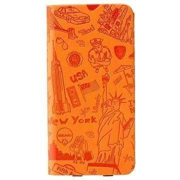 iPhone 6 Plus / 6S Plus Ozaki O!Coat Travel Nahkainen Suojakansio New York Oranssi