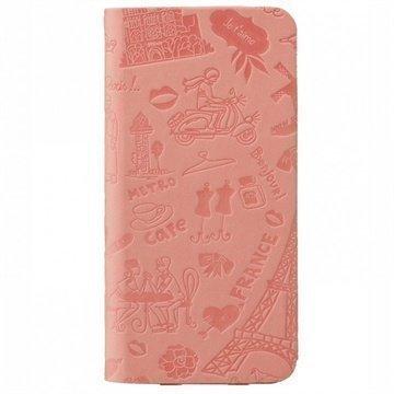 iPhone 6 Plus / 6S Plus Ozaki O!Coat Travel Nahkainen Suojakansio Pariisi Vaaleanpunainen