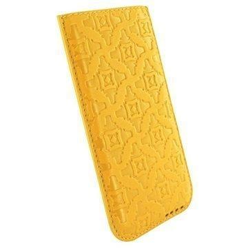 iPhone 6 Plus / 6S Plus Piel Frama Pull Nahkakotelo Keltainen