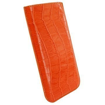 iPhone 6 Plus / 6S Plus Piel Frama Pull Nahkakotelo Krokotiili Oranssi
