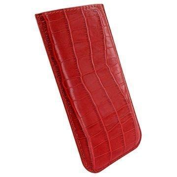 iPhone 6 Plus / 6S Plus Piel Frama Pull Nahkakotelo Krokotiili Punainen