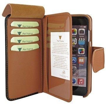 iPhone 6 Plus / 6S Plus Piel Frama iMAGNUM Lompakkomallinen Nahkakotelo Musta / Kellanruskea