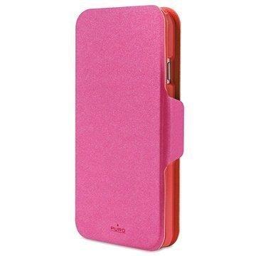 iPhone 6 Plus / 6S Plus Puro Kaksivärinen Lompakkomallinen Nahkakotelo Pinkki / Punainen
