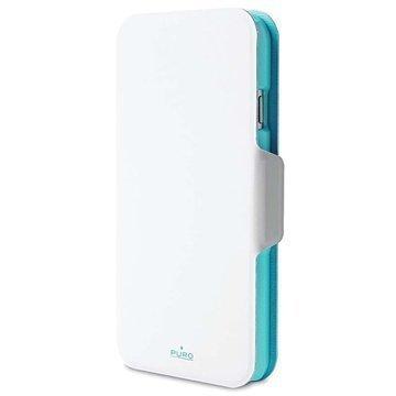 iPhone 6 Plus / 6S Plus Puro Kaksivärinen Lompakkomallinen Nahkakotelo Valkoinen / Vaaleansininen