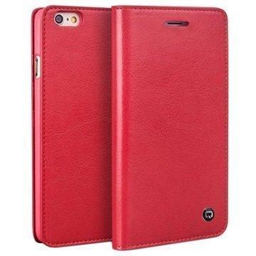iPhone 6 Plus / 6S Plus Qialino Classic Lompakkomallinen Nahkakotelo Punainen