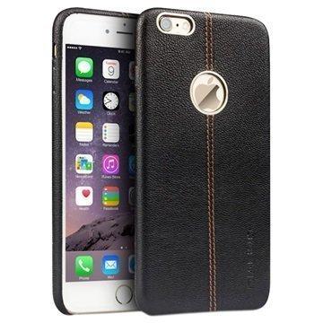 iPhone 6 Plus / 6S Plus Qialino Kova Kotelo Kuvioidulla Nahkapäällysteellä Musta