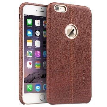 iPhone 6 Plus / 6S Plus Qialino Kova Kotelo Kuvioidulla Nahkapäällysteellä Ruskea