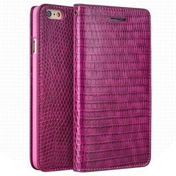 iPhone 6 Plus / 6S Plus Qialino Lompakkomallinen Nahkakotelo Krokotiilinnahka Kuuma Pinkki