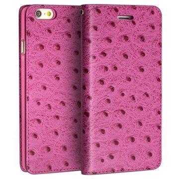 iPhone 6 Plus / 6S Plus Qialino Lompakkomallinen Nahkakotelo Strutsinnahka Kuuma Pinkki