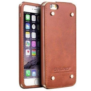 iPhone 6 Plus / 6S Plus Qialino Luxury Slim Nahkakotelo Ruskea