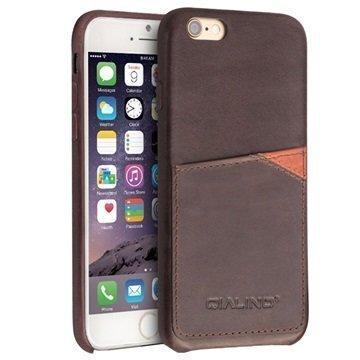 iPhone 6 Plus / 6S Plus Qialino Nahkainen Kova Kotelo Kahvi