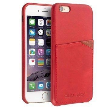 iPhone 6 Plus / 6S Plus Qialino Nahkainen Kova Kotelo Punainen