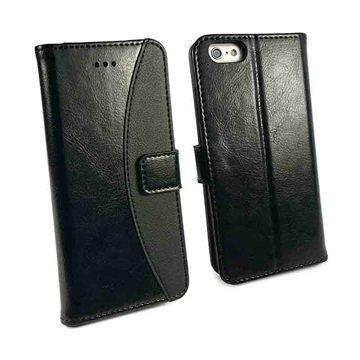 iPhone 6 Plus / 6S Plus Tuff-Luv Slim Stand Jalustallinen Lompakkomallinen Nahkakotelo Musta