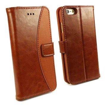 iPhone 6 Plus / 6S Plus Tuff-Luv Slim Stand Jalustallinen Lompakkomallinen Nahkakotelo Ruskea