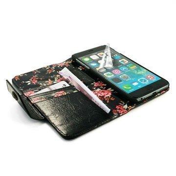 iPhone 6 Plus / 6S Plus Tuff-luv London Ladies Lompakkomallinen Nahkakotelo Musta