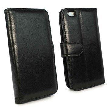 iPhone 6 Plus / 6S Plus Tuff-luv Vintage Avattava Nahkakotelo Musta