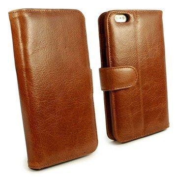 iPhone 6 Plus / 6S Plus Tuff-luv Vintage Avattava Nahkakotelo Ruskea
