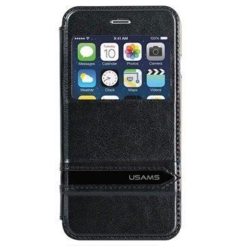 iPhone 6 Plus / 6S Plus Usams Merry Series Ikkunallinen Kotelo Musta