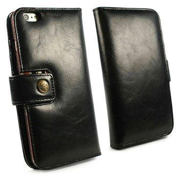 iPhone 6 Plus Alston Craig Vintage Avattava Nahkakotelo Musta