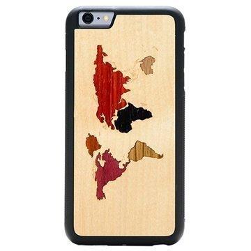 iPhone 6 Plus/6S Plus Carved Traveler Kotelo Maailmankartta