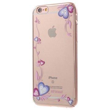 iPhone 6 Plus/6S Plus X-Fitted Swarovski Crystal Suojakotelo Sydämet Ruusukulta