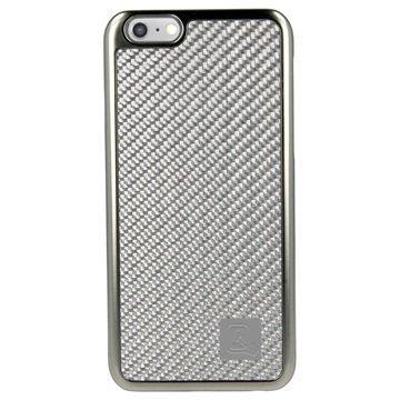 iPhone 6 plus / 6S Plus 4smarts Modena Kova Suojakotelo Hiilikuitu / Hopea