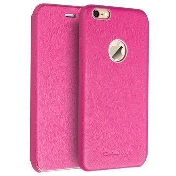 iPhone 6/6S Qialino Nahkainen Lompakkokotelo Lampaannahka Kuuma Pinkki