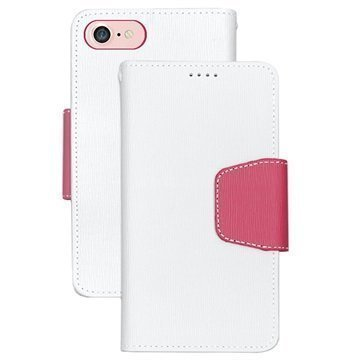 iPhone 7 Beyond Cell Infolio Lompakkokotelo Valkoinen / Pinkki