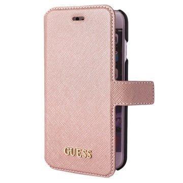 iPhone 7 Guess Saffiano Look Lompakkokotelo Pinkki