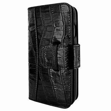iPhone 7 Piel Frama WalletMagnum Leather Cover Krokotiili Musta