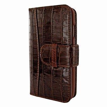 iPhone 7 Piel Frama WalletMagnum Leather Cover Krokotiili Ruskea
