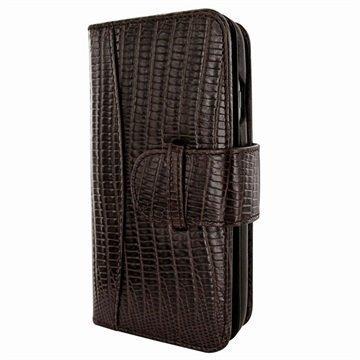 iPhone 7 Piel Frama WalletMagnum Leather Cover Lagarto Ruskea