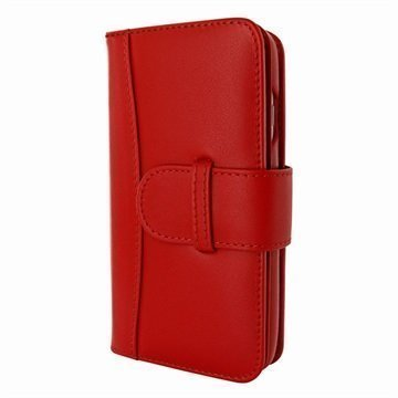 iPhone 7 Piel Frama WalletMagnum Leather Cover Punainen