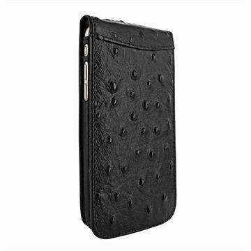 iPhone 7 Plus Piel Frama Classic Magnetic Flip Case Ostrich Musta