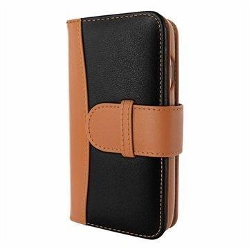 iPhone 7 Plus Piel Frama WalletMagnum nahkakotelo Musta / Kellanruskea