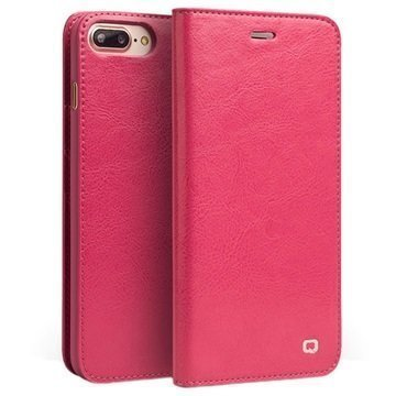 iPhone 7 Plus Qialino Classic Nahkainen Lompakkokotelo Kuuma Pinkki
