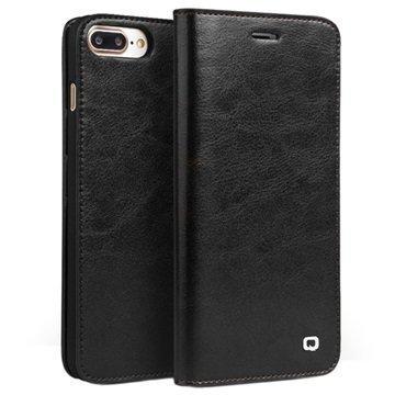 iPhone 7 Plus Qialino Classic Nahkainen Lompakkokotelo Musta