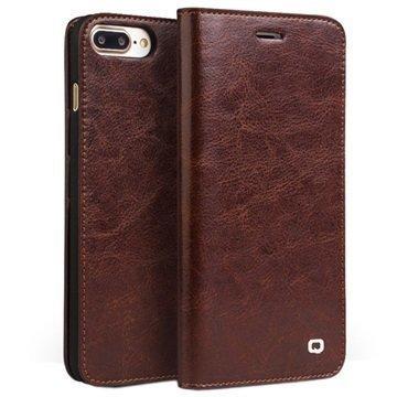 iPhone 7 Plus Qialino Classic Nahkainen Lompakkokotelo Ruskea